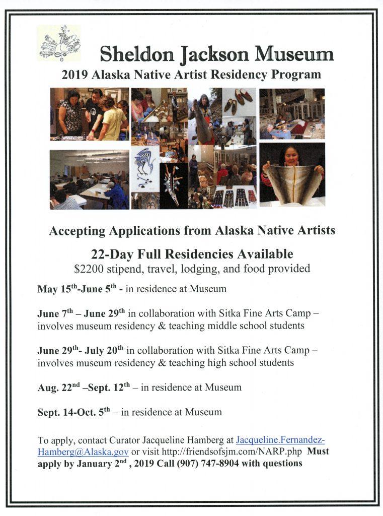 Native Artist in Residency Application Sheldon Jackson Museum