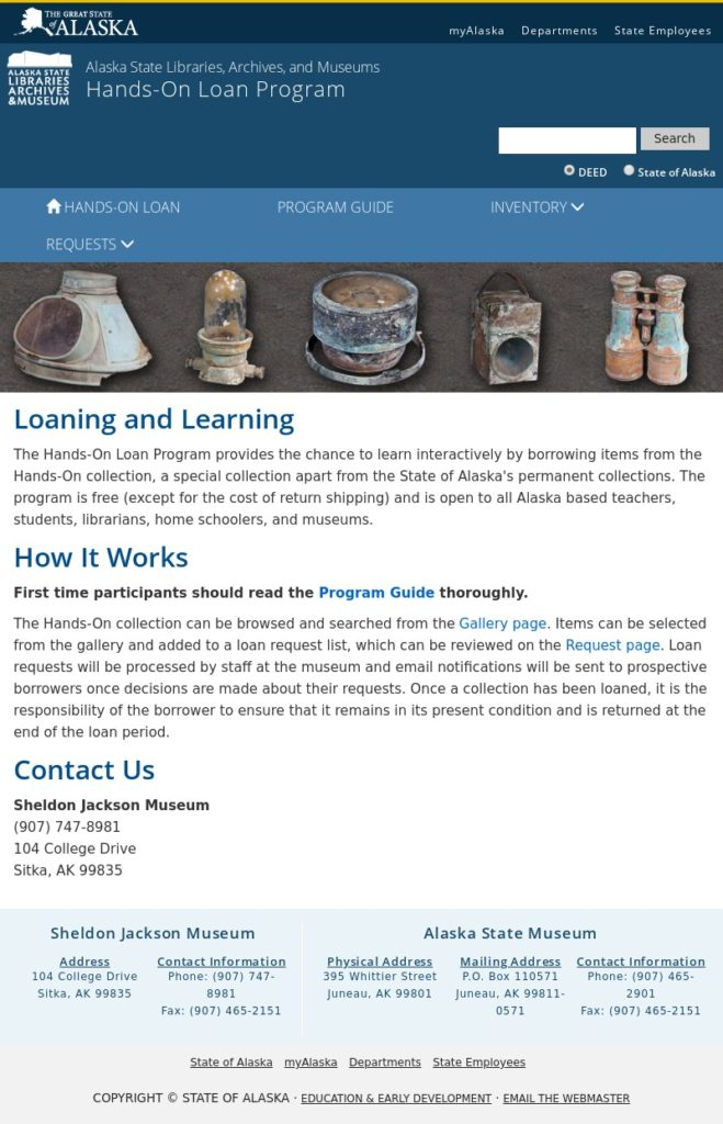 Sheldon Jackson Museum Hands On Loan Page screenshot